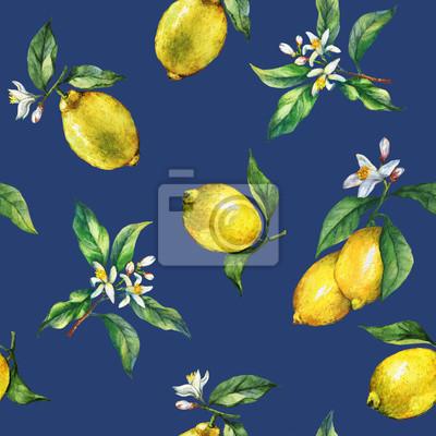Le modèle sans couture des branches de citrons frais d'agrumes avec des feuilles et des fleurs vertes. Peinture tirée par la main d'aquarelle sur fond bleu foncé lumineux.