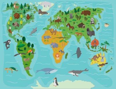 Papiers peints Le monde animal. Carte de bande dessinée drôle