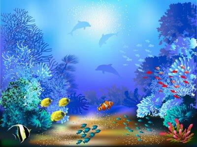Papiers peints Le monde sous-marin avec des poissons et des plantes