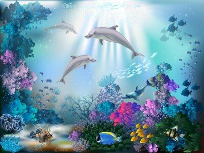 Papiers peints Le monde sous-marin avec les dauphins et les plantes