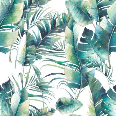 Papiers peints Le palmier à l'été et les feuilles de bananes sont homogènes. Texture d'aquarelle avec des branches vertes sur fond blanc. Design de papier peint tropical dessiné à la main