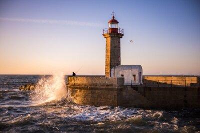 Papiers peints Le phare de Porto au coucher du soleil