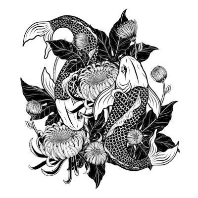 le poisson koi et le tatouage au chrysanthème à dessin à la main