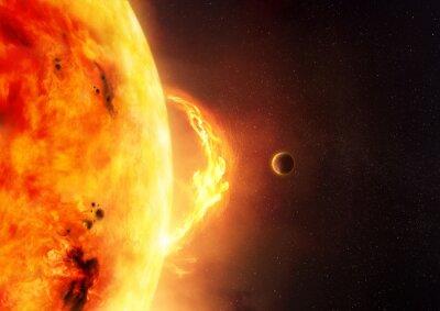 Papiers peints Le soleil - éruption solaire. Une illustration du soleil et du soleil flambe avec une planète pour donner l'échelle à la taille de la fusée.