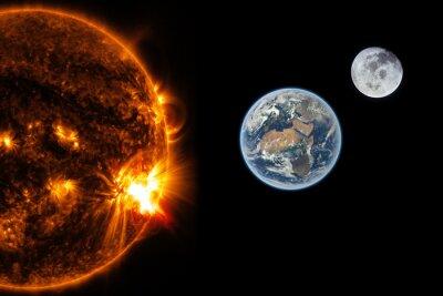 Papiers peints Le soleil, la terre et la lune - Éléments de cette image fournis par la NASA