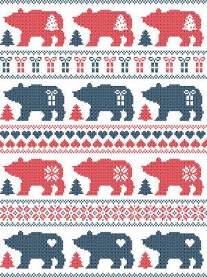Le style scandinave et la culture nordique inspiré de Noël et de fête en hiver modèle sans couture en point de croix avec l'ours polaire, flocon de neige, étoile, coeur, arbre, cadeau en rouge, bleu,