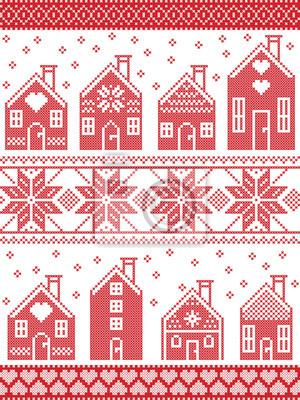 Le style scandinave sans couture et la culture nordique ont inspiré le motif d'hiver de Noël et de fête en point de croix avec le village de maison de pain d'épice comprenant des éléments décoratifs e