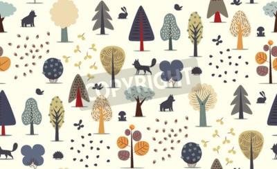Papiers peints Le vecteur illustré modèle sans couture d'éléments de forêt plats - divers arbres, animaux sauvages et graines.