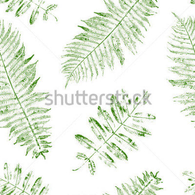 Papiers peints Leaves of mountain ash and fern. Seamless pattern with leaf prints. Vector illustration.