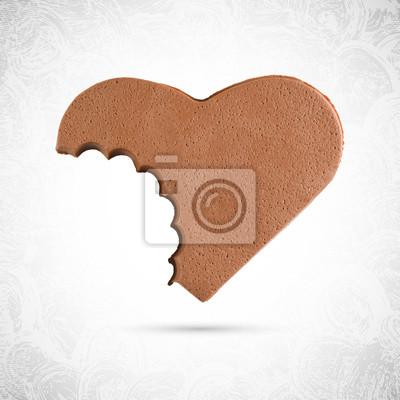 Lecture Bitten doh en forme de coeur valentine biscuit au chocolat, pain d'épice plaine faite de pâte à modeler, pâte à modeler, vecteur isolé