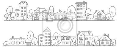 Papiers peints Les arbres et les maisons dans une rangée pour votre cadre