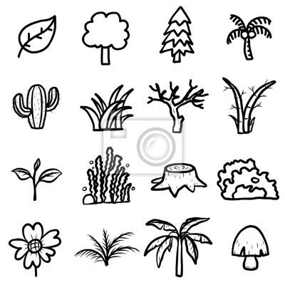 Papiers Peints Les Arbres Les Plantes Icônes Ensemble Vecteur De Dessins