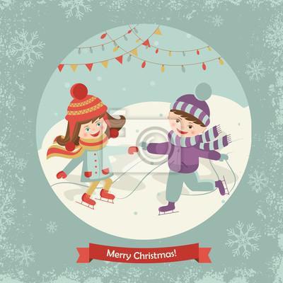 Les enfants heureux de patinage d'une illustration vectorielle