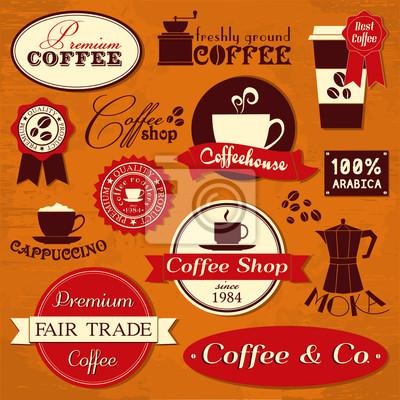 Les étiquettes vintages de café et éléments de conception