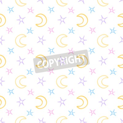 Papiers peints Les étoiles douces sans soudure et le fond de la nuit du bébé de la lune. Beau modèle de rêve