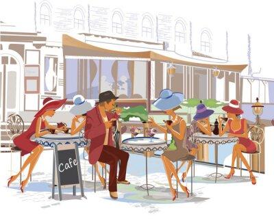 Papiers peints Les gens de mode dans le café de la rue dans la ville.