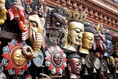 Les masques traditionnels en bois, Katmandou, Népal