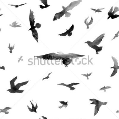 Papiers peints Les oiseaux. Aquarelles Modèle sans couture. Illustration de raster.
