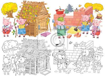 Les Trois Petits Cochons Conte De Fée Coloriage Livre De