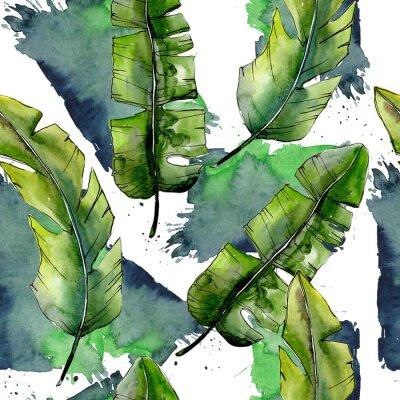Papiers peints Lesves verts tropicaux dans un modèle de style aquarelle. Feuille d'aquarelle pour le fond, la texture, le modèle d'enveloppe, le cadre ou la frontière.