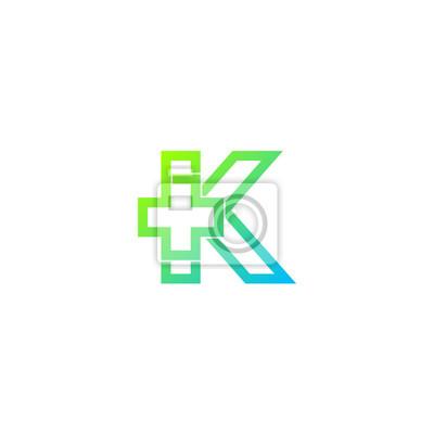 Lettre k croix plus logo, hôpital médical de santé logotype papier ...