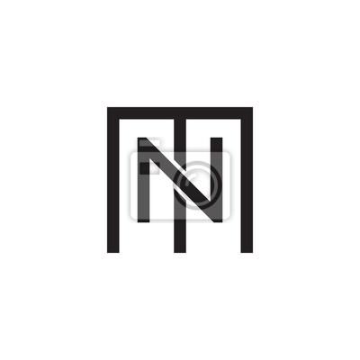 Lettres initiales m et n, mn, nm, chevauchement n à lintérieur ...