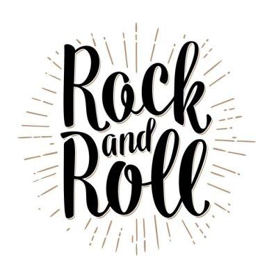 Papiers peints Lettres Rock and Roll avec des rayons. Vecteur vintage