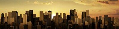 Papiers peints Lever de soleil-city panorama / rendu 3D de la ville moderne au soleil levant ou couchant