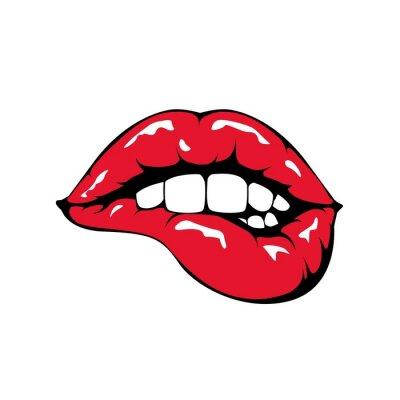 Papiers peints Lèvres rouges qui piquent icône sur fond blanc.