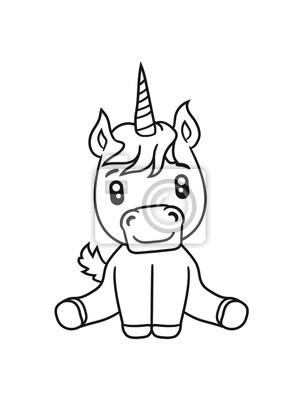 Licorne Poulain Licorne Doux Mignon Assis Dessin Anime Poney Papier