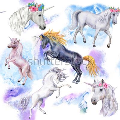 Papiers peints Licornes Seamless Pattern avec des chevaux. Illustration d'animaux. Aquarelle. Modèle. Fermer