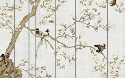Papiers peints Light textured background, white magnolia flowers on a tree and birds