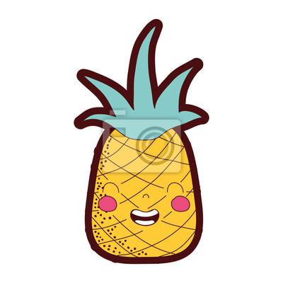 Papiers Peints Ligne Couleur Mignon Ananas Kawaii Sourire Fruit