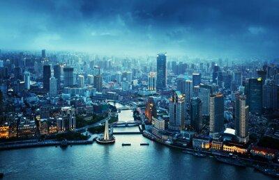 Papiers peints ligne d'horizon de Shanghai au coucher du soleil, de la Chine