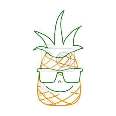 paquet à la mode et attrayant handicaps structurels regard détaillé Papiers peints: Ligne de couleur fruit dananas heureux avec des lunettes de