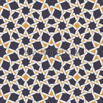 Papiers peints Ligne étoile islamique sans soudure de vecteur à fond abstrait motif géométrique jaune et bleu