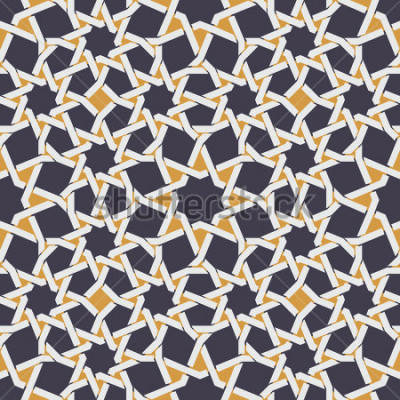 Papiers peints Ligne étoile islamique sans soudure, motif abstrait géométrique jaune et bleu
