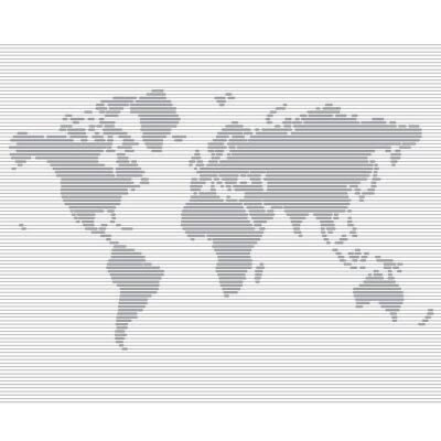 Papiers peints ligne la carte du monde vecteur modèle rayé