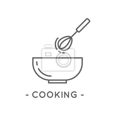 Papiers Peints Ligne Noir Cuisine Icone Blanc Fond
