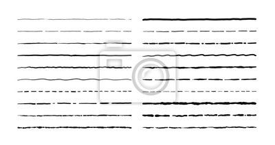 Papiers peints Lignes de griffonnage dessinés à la main. Éléments de frontière soulignement vintage, jeu de cadre de dessin animé, décoration crayon grunge. Esquisse de vecteur stylo