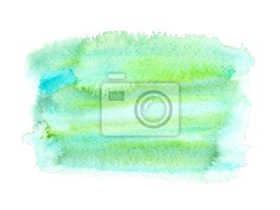 Lime Vert Bleu Texture Tache Peint Aquarelle Blanc Isole