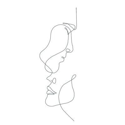 Papiers peints line drawing faces, fashion concept, woman beauty minimalist, vector illustration for t-shirt, slogan design print graphics style