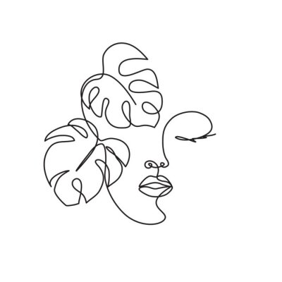 Papiers peints Line drawing of the profile of a woman with flowing hair and flowers, for organic cosmetics