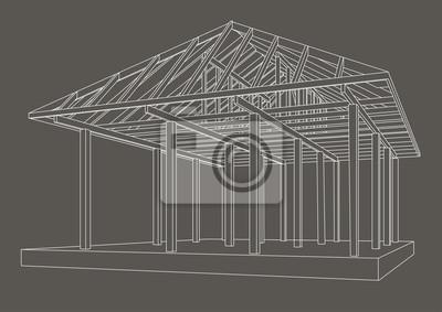 Papiers peints: Linéaire, architectural, croquis, bois, cadre, perspective,  gris,