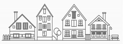 Papiers peints Linear cityscape with various row houses. Outline illustration. Old buildings in neighborhood.