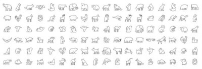 Papiers peints Linear collection of Animal icons. Animal icons set. Isolated on White background