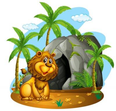 Papiers peints Lion, assied, devant, caverne