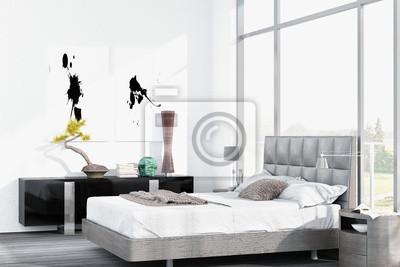 Lit King Size Blanc Moderne Contre Le Plancher A La Fenetre Au