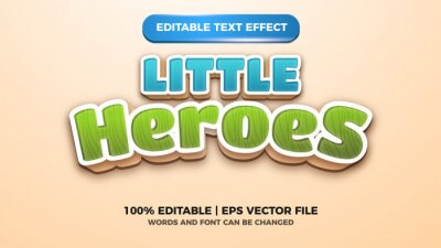 Papiers peints little heroes editable text style effect illustrator. vector design template