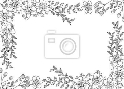 Coloriage Cadre Fleur.Livre De Coloriage Cadre Fleur Pour Adulte Illustration De Doodle
